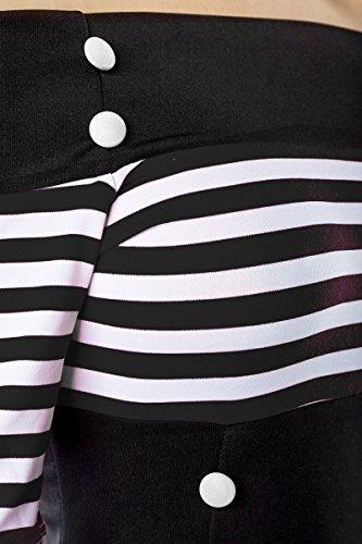 Schulterfreies Vintage-Kleid mit dekorativen Knöpfen und kurzen Ärmeln (Schwarz/Weiß/Stripe, Gr. M) - 5