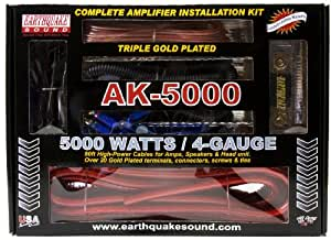 Earthquake 5000 Watts, 4 Ga. Complete Amplifier Kit With Rca & Speaker Wires, Anl Fuse Holder