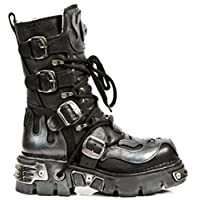 NEWROCK New Rock 107-S2 SILVER SKULL DEVIL METALLIC BOOTS ALL SIZES