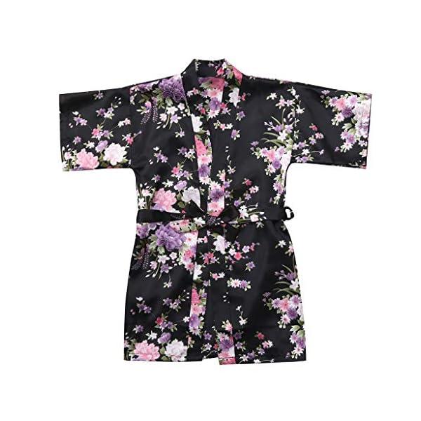 Vectry Abrigo Bebé, Niña Ropa Infantil Otoño Invierno Floral Seda Satén Kimono Albornoces Albornoz Ropa De Dormir Ropa… 1
