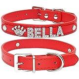 XIAOLANGTIAN Bling Strass Welpen Hundehalsbänder Personalisierte Kleine Hunde Chihuahua Kragen Benutzerdefinierte Halskette Free Name Charms Pet Zubehör, Rot, XS