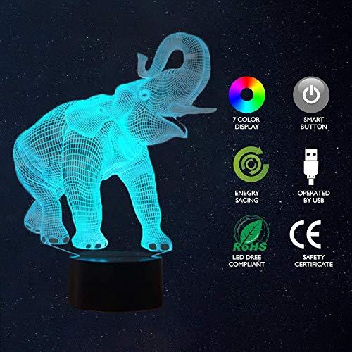 Lámpara de ilusión 3D, Elefante Juguetes LED Night Light7 colores Control táctil Alimentado por USB Lámpara de decoración de fiesta para la decoración del hogar Navidad Regalos de cumpleaños