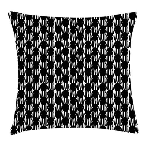 Octopus Throw Pillow Cushion Cover, Abstract Retro Style Silhouettes Marine Monster Characters Simplistic Design, Decorative Square Accent Pillow Case, 18 X 18 inches, Black and White