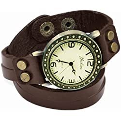 chinkyboo Korea Style Lady Wrist Watch Leather Strap Quartz Watch - Coffee
