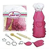 Giplar 11 Stück Chef Kostüm Kinder Kochschürze Set mit Kinder Küchenaccessoires Kochset für Kinder Kochen Spielen