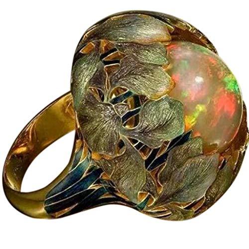 MeiMei Vintage Europäischen Farbe Opal Ring übertrieben Persönlichkeit Ring Fingerring Ringe für Frauen Mutter Valentine Party (7)