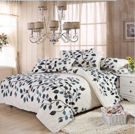 Bluelover 3 Oder 4Pcs Baumwollmischungs-Muster-Farben-Druckbettwäsche-Sätze Zwillings-Volle Königin-Größe - Doppelgröße - 07 (1 Bett-blatt-satz)
