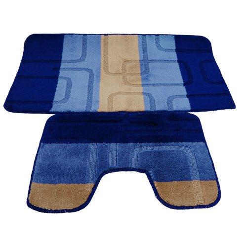 Badematten- und WC-Vorleger-Set, 2-teilig, Quadrat-Design, 5 verschiedene Ausführungen (Siehe Beschreibung) (Blau/Beige)