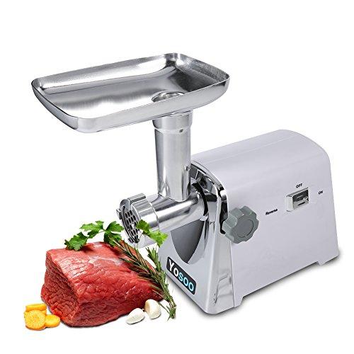 Yosoo 1600W Eléctrico Industrial Molinillo de Carne Máquina de Picar Carne Máquina de Hacer Salchichas w/ 3 Hojas de Corte
