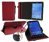 Emartbuy® Allview WI7 Android 7 Zoll Tablet Universal ( 7 - 8 Zoll ) GepolsterteDesign Burgandy 360GradrotierendeStandFolioGeldbörseTascheHülle + Schwarz Eingabestift