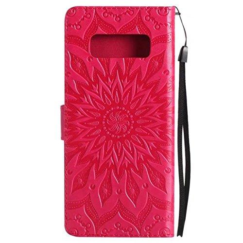 EKINHUI Case Cover Doppelseitige geprägte Sonnenblumenmuster Premium PU Ledertasche mit Kartenschlitze und Lanyard für Samsung Galaxy Note 8 ( Color : Blue ) Red