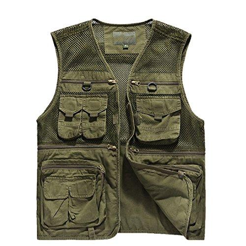 Männer Lässig Entspannt Weste Multi-Tasche Fotografie Mesh-Weste Angeln Weste Weste MilitaryColor