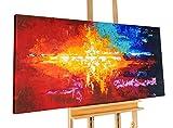 KunstLoft® Acryl Gemälde 'Luscious' 140x70cm | original handgemalte Leinwand Bilder XXL | Abstrakt Rot Blau Gelb Warme Farben | Wandbild Acrylbild moderne Kunst einteilig mit Rahmen