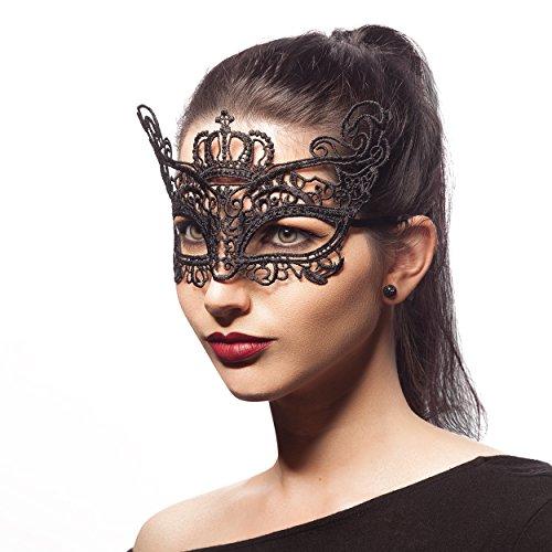 ROYAL CROWN - Augenmaske aus Stoff Spitze für Damen - Halloween Fasching Karneval Maskenball (Schnelle Und Einfache Halloween-kostüme Für Damen)