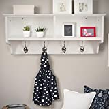 Home Source Coat Hook Wall Mounted Unit White 2 Open Shelves 4 Robe Hooks Bathroom Hallway