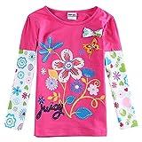 Nova Langarm Mädchen T-Shirt mit Blumen Druck und Pailletten - Fuchsia - Gr. 92
