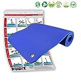 POWRX Tapis de Gym ÉPAIS avec ŒILLETS - ANTI-DÉRAPANT, PVC FREE/Gymnastique – Fitness – Yoga – Pilates/180 x 60 x 1,2 cm/Bleu
