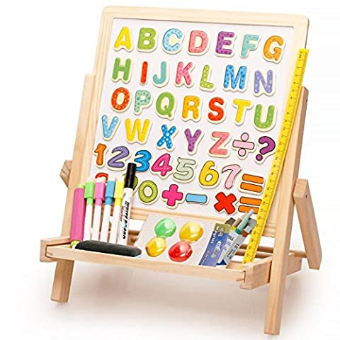 Lewo 3 in1 Wooden Magnetic Art Easel Double Sided Drawing Whiteboard Educational Toys for Kids