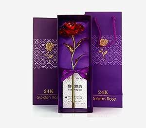 JaipurCrafts WebelKart JC02033AA 24 K 10-inch Golden Rose with Gift Box (Red)