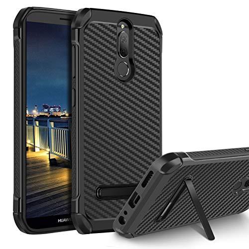 BENTOBEN Huawei Mate 10 Lite Hülle, Mate 10 Lite Handyhülle mit Ständer stoßfest Schutzhülle Hybrid PC TPU Bumper Carbon Hülle für Huawei Mate 10 Lite Schwarz