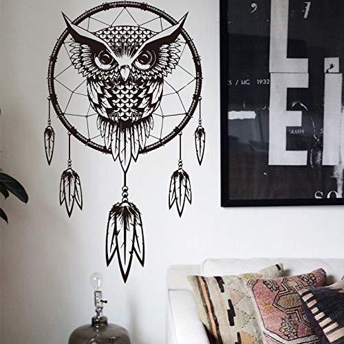 ganlanshu Art Design Indian Dream Catcher Adesivo Decorativo da Parete Gufo Applique Vinile Adesivo murale Decorazione Domestica 43cmX76cm