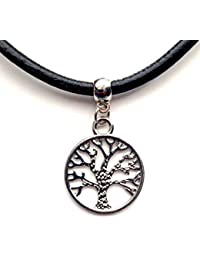 Vintage Style Silver Necklace Retro Choker Jewellery Black Leather Cord Charming Pendant For Women Men - Tree of Life