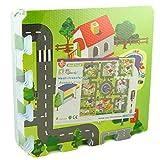 Tapis de jeu en mousse pour enfant avec dessins de routes, 9 pièces de puzzle, 92 x 92 cm