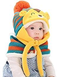 Koly Lindo de invierno bebés de los muchachos Calentar gorros de lana Cofia de la capilla de la bufanda (Rosa) (naranja)