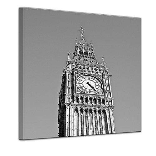 Kunstdruck - Big Ben sw - Bild auf Leinwand 60 x 60 cm - Leinwandbilder - Bilder als Leinwanddruck - Städte & Kulturen - Europa - England - Big Ben in schwarz weiß