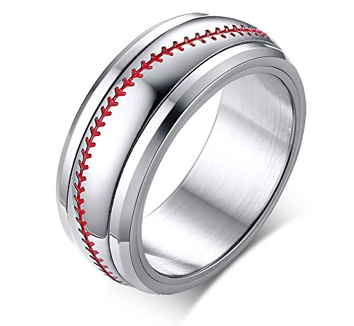 Vnox 8mm Cool Edelstahl zweifarbig rot und weiß Baseball Softball Sport Spinner Ring für Männer, Größe 57 (18.1) -