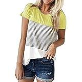 Hevoiok Damen Kurzarm-Shirt Oberteile Sexy Dreifacher Farbblock Streifen Bluse Neu Frühling Sommer T Shirt Frauen Casual Locker Beiläufig Tanktops (Gelb, M)
