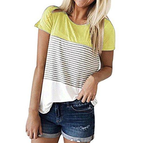 Hevoiok Damen Kurzarm-Shirt Oberteile Sexy Dreifacher Farbblock Streifen Bluse Neu Frühling Sommer T Shirt Frauen Casual Locker Beiläufig Tanktops (Gelb, 2XL)