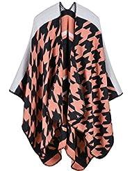 Estilo de moda Nepal las mujeres de gran tamaño espesados bufandas de tartán de manta bufanda abrigo Poncho chal cabo acogedor imitación cachemira de gran tamaño 150 * 130cm , b