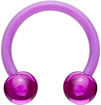 beyoutifulthings Piercing a ferro di cavallo in acrilico, universale, per capezzolo, naso, setto nasale, orecchio, cartilagine, 1,2/1,6 mm, 10/12 mm