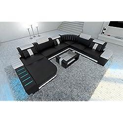 Cuero Conjunto de Muebles Para Salón BELLAGIO XXL con iluminación Led Blanco y negro