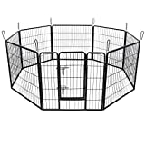 Songmics Heavy Duty Puppy Playpen Play Whelping Pen, 8 Panels Black XL (80 x 80 cm) PPK88H