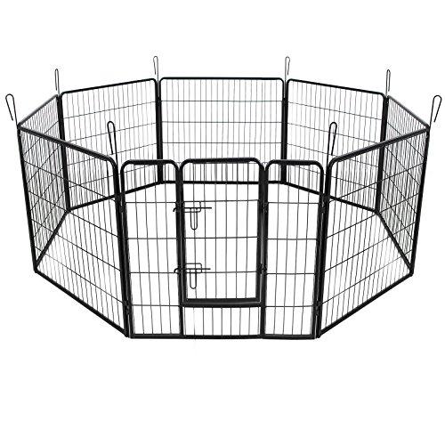 *SONGMICS 8-Eck Welpenauslauf Welpenlaufstall für Hunde Kaninchen kleine Haustiere mit Tür 80 x 80 cm Farben auswählbar (Schwarz) PPK88H*