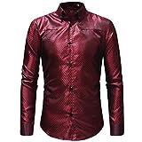 Qiusa Men-Tops Clearance Männer Casual Print Plaid Pullover Langarm-T-Shirt Top Bluse (Farbe : Rot, Größe : CN LUK 12)