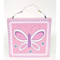 Girls Bedroom Canvas Wall Art Print with Sequins (30cm x 30cm) - Butterfly