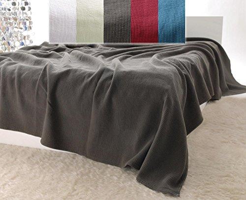 Baumwolldecken Wohnen & Accessoires Edle Tagesdecke, Bettüberwurf Annabelle mit Streifenmuster in moorbraun 240x260cm