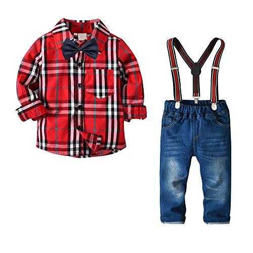 Yilaku abbigliamento set per bambino ragazzo camicie a quadri manica lungo + jeans pantaloni + bretelle + papillon bambini 4 pezzo set vestiti per formale gentleman
