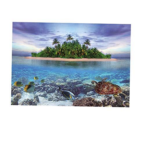 SM SunniMix Aquarium Hintergrund Poster Fisch Tank Dekoration - Insel, ()