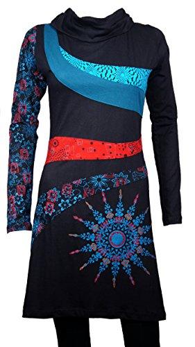 Filosophie Einzigartiges Ethno Kleid mit Mandala Prints und Bunte Details - 100% Baumwolle - Hippie Chic - Mantra (L/XL) (Mandala-prints)