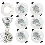 Sunpion Faretti LED da Incasso per cartongesso,5 W Equivalenti a 60 W,Luce Bianco Caldo 2700K 600LM orientabili 120 Gradi AC 220-240V (Set da 6 2700K Rotonde Bianche)