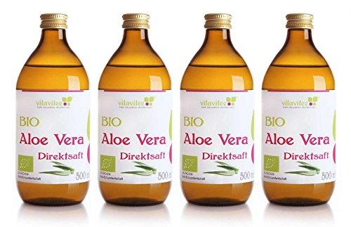 Vitavitee Bio Aloe Vera Direktsaft durchschnittlich 1200 mg/l Aloeverose (4 x 500 ml) -