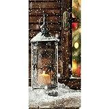 Textilbanner - Thema: Weihnachten - Laterne im Schnee - 180cmx90cm - Banner zum Hängen & Dekorieren