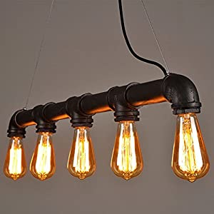 'Tess Vintage Steampunk Pendant Lamp in Rustic Look Metal with 5Small Edison Screw Light Bulbs from Lightess