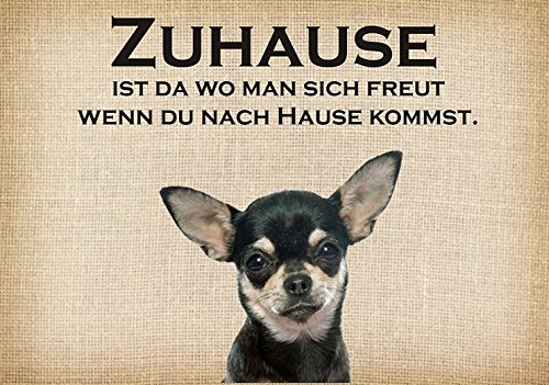 Fussmatte ' Zuhause Chihuahua '- Fussmatte bedruckt Türmatte Innenmatte Schmutzmatte lustige...