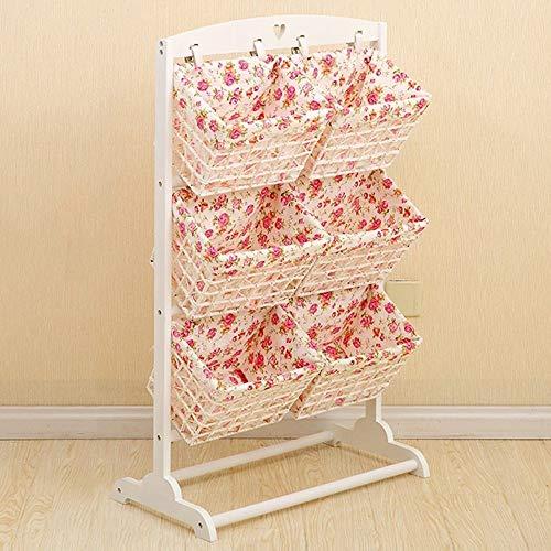 NewbieBoom Hochschränke Stehregale Living Living Basket Lagerung Massivholz Rattan Korb Home Multi-Layer Ablagekorb, Weiß, 105 * 35 * 6 -