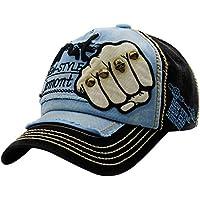 gorras beisbol, Sannysis Gorra para hombre mujer Sombreros de verano gorras de camionero de Hip Hop Impresión bordada, talla única (Negro embroidered rivet)